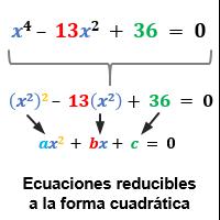 ecuacion reducibles cuadráticas